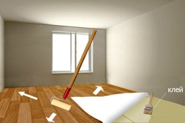 Как постелить и приклеить линолеум на ламинат: основные этапы работы