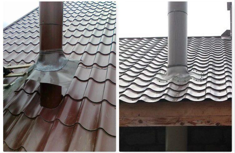 Заделываем круглую трубу размещенную на крыше из шифера