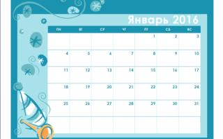 Цветной календарь на 2016