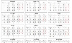 Календарь на 2019 с номерами недель