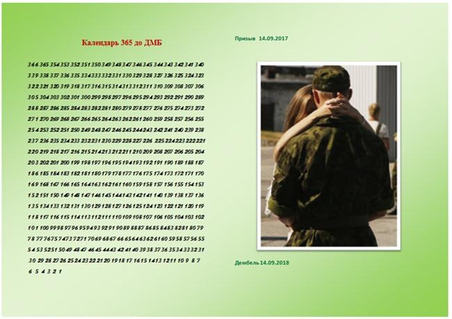 календарь 265 дней до дМБ