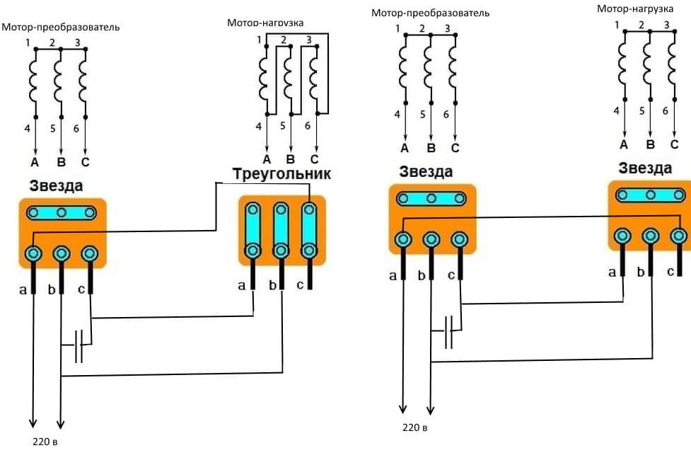 Схемы подключения электродвигателя